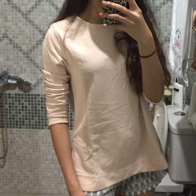 h&m pink long sleeve top