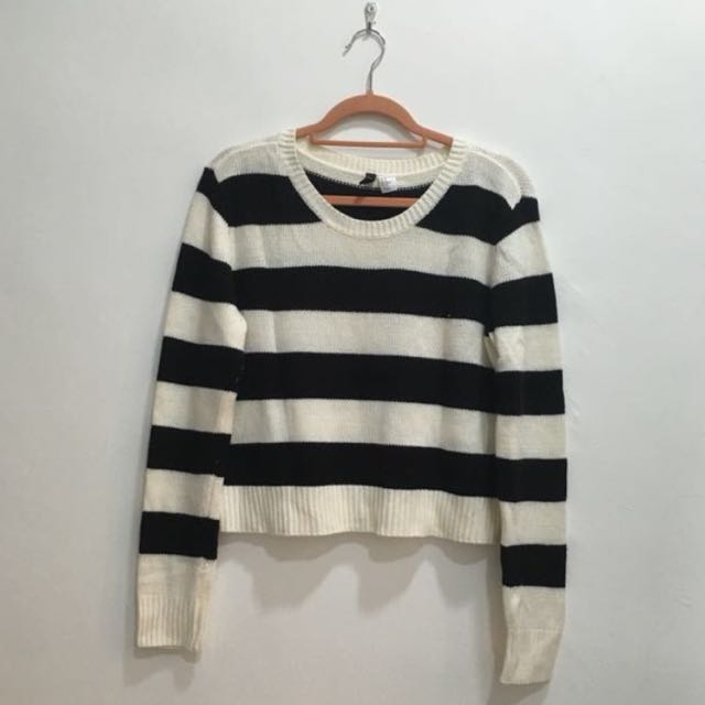 H&M Stripes Crop Top Knitted Sweater