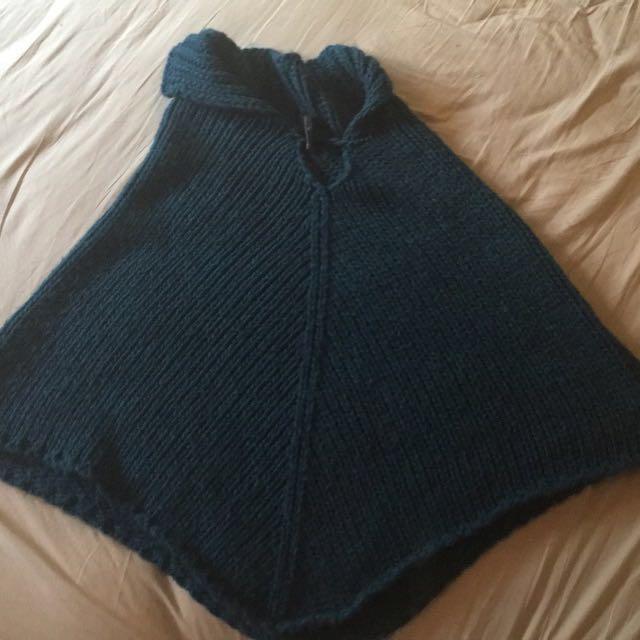 Italian Blue knitted woolen poncho
