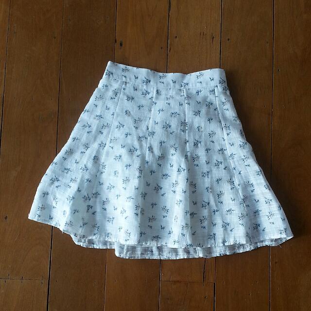 Korean Floral White Skirt
