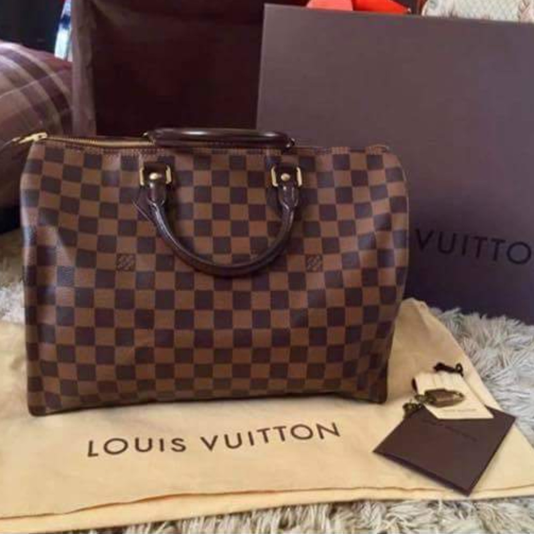e04b79a730c97e LV Speedy 35 Damier Ebene Canvas/ 💯% Authentic >>> PLEASE READ Bio and  Product details carefully, Luxury, Bags & Wallets on Carousell