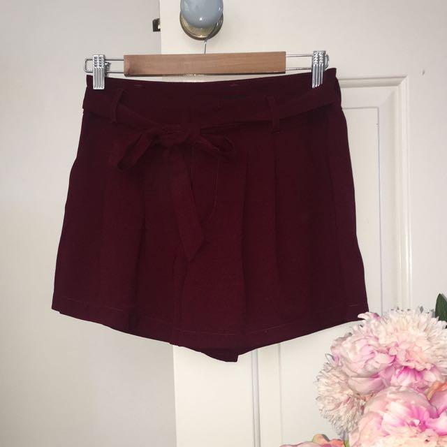 Maroon Tie Up Shorts