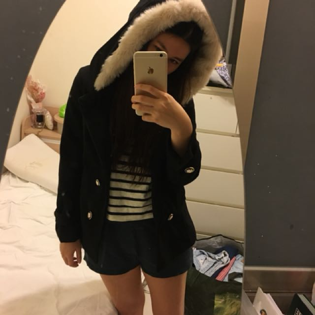 Mavis 日本連線 毛毛 排扣外套