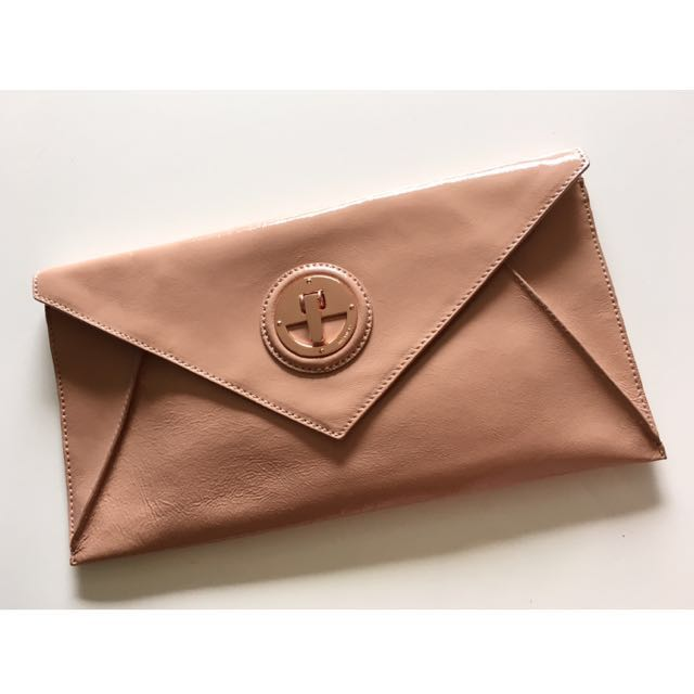 MIMCO Molten Envelope Salmon Rose Gold Patent Leather Clutch Bag