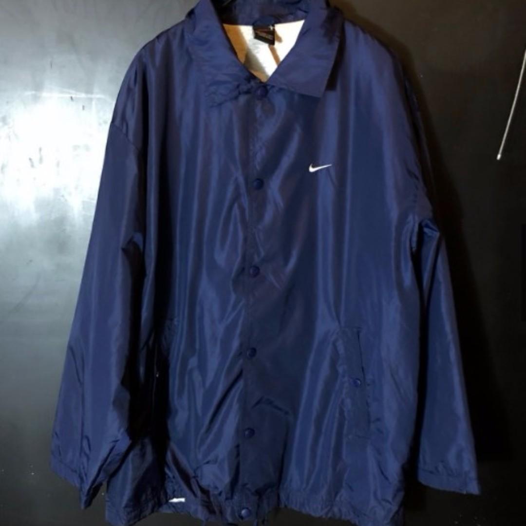 古著Nike深藍色素面排扣教練外套 (含運)