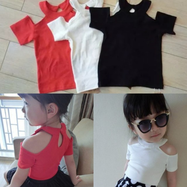7f8ab57ed5f68 Off Shoulder Top for Little Girls (Red and White)