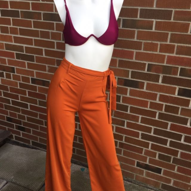 Orange high waist pants