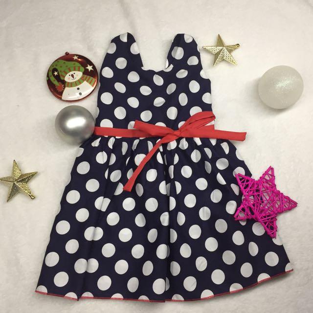 Polka Dots on Navy Blue Kid's Dress