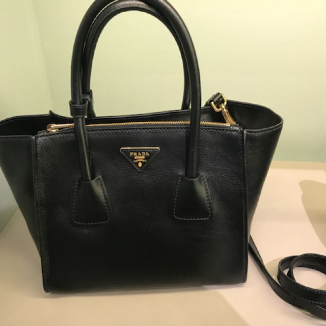 PRADA Prada Glance Twins Leather Shopping Tote with Shoulder Strap
