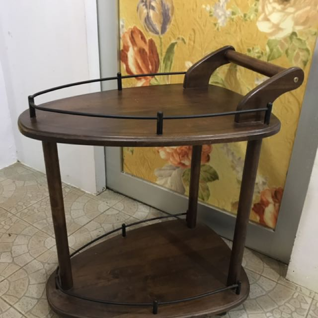 Trolley Coffee Table.Preloved Wooden Trolley Coffee Table