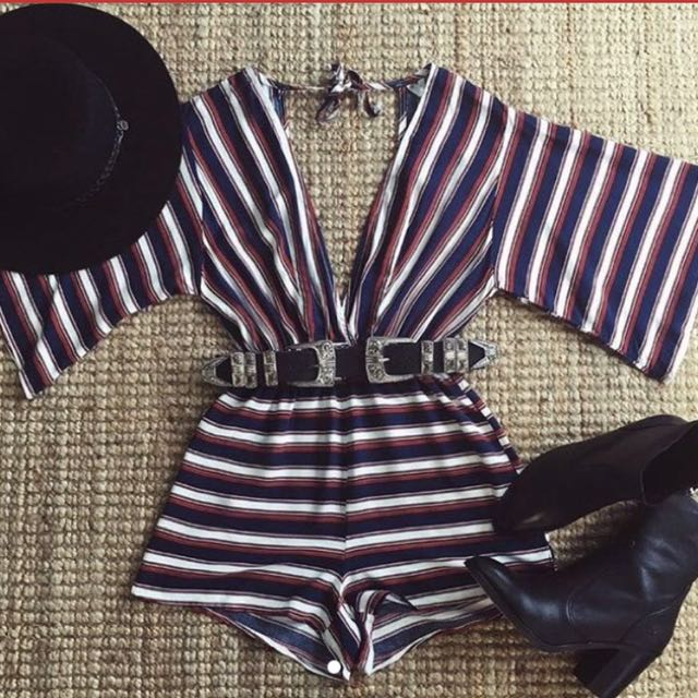 Princess polly striped playsuit
