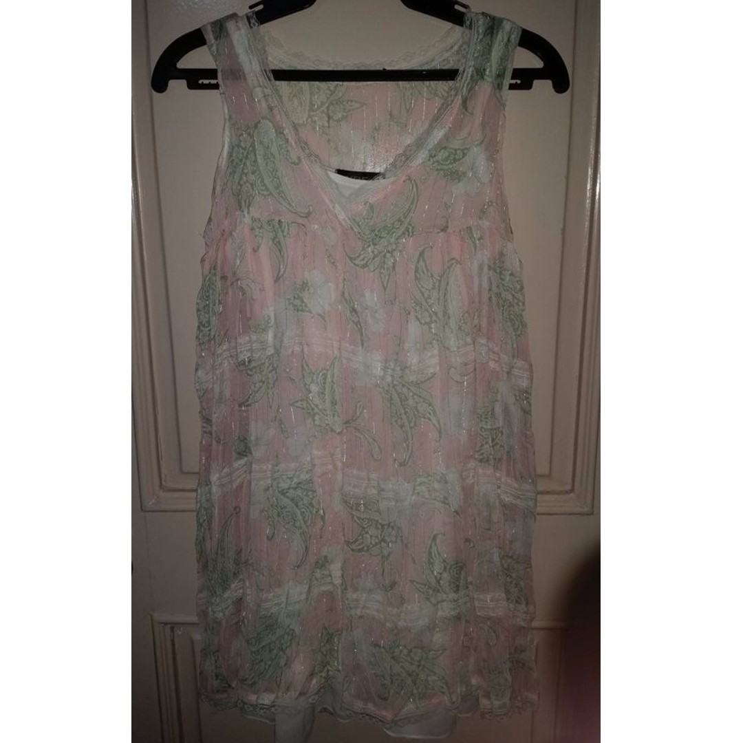 Printed Lace Dress or Long Blouse (White Slip included)