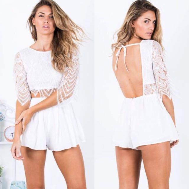 f7a28acfd9 REVERSE White Lace Playsuit