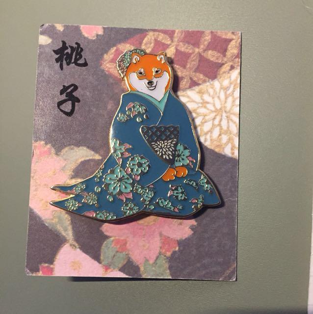 shiba inu geisha pin