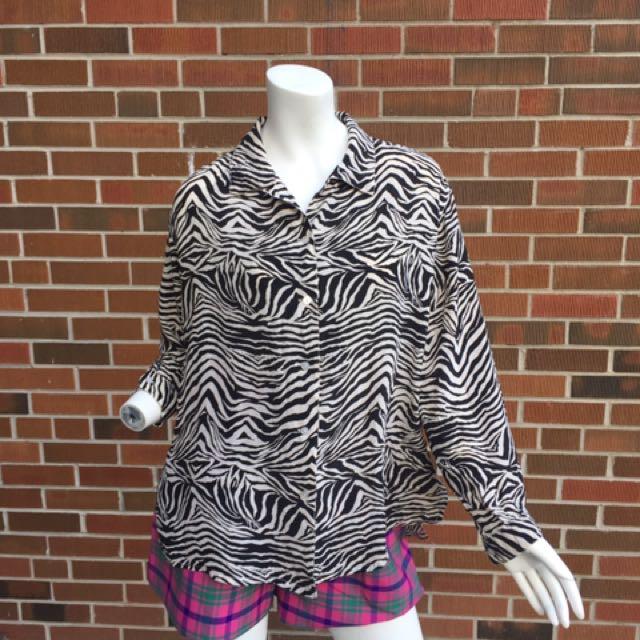 Silk zebra print blouse