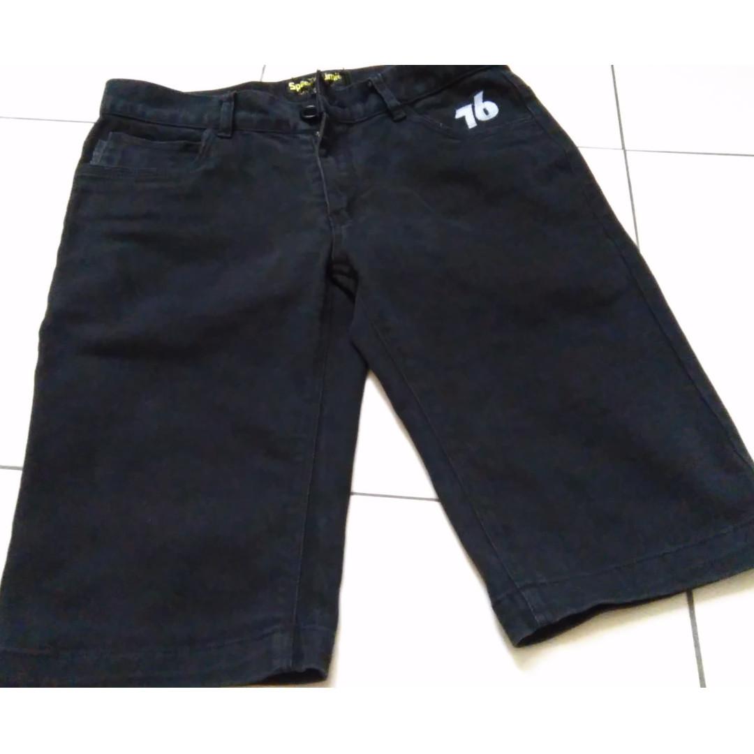 SPEED 76 Limit 皮標飾片 彈性修身 5分牛仔短褲 slim skinny