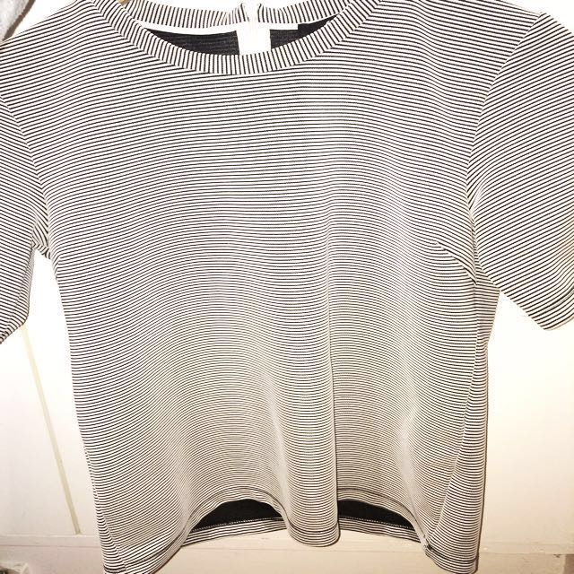 Sportsgirl Quilted Navy And White Striped Top