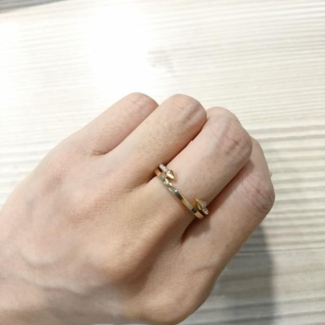 Vita Fede玫瑰金鉚釘白鑽雙環戒指