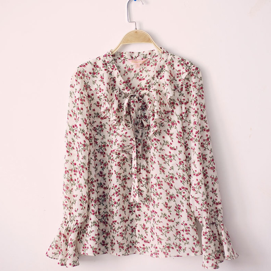 White Flora Blouse Mermaid Sleeves (Small Print) Korean Style