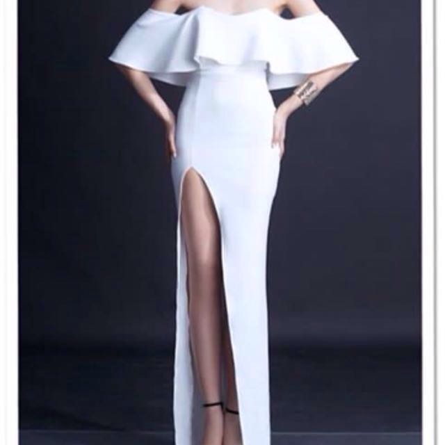 WHITE LONG GOWN / ROM DRESS / GOWN FOR RENT, Women\'s Fashion ...
