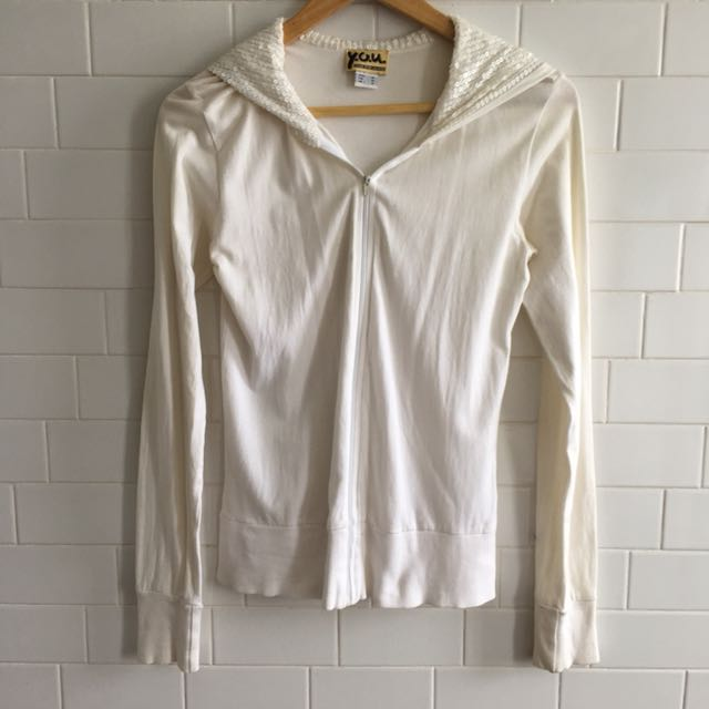 White Sequin Hoodie