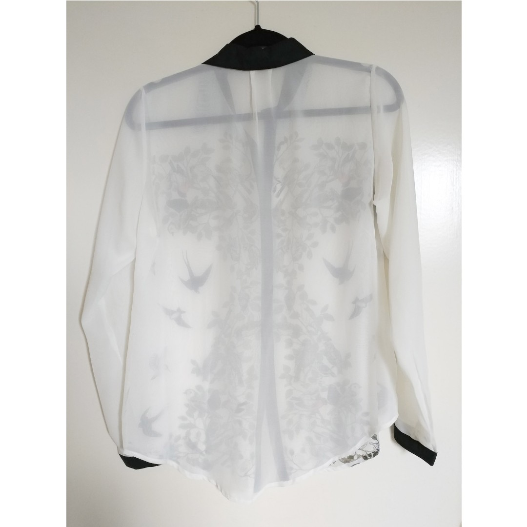 Women's AU10 Bird & Branches Printed Sheer Shirt Blouse with black accents
