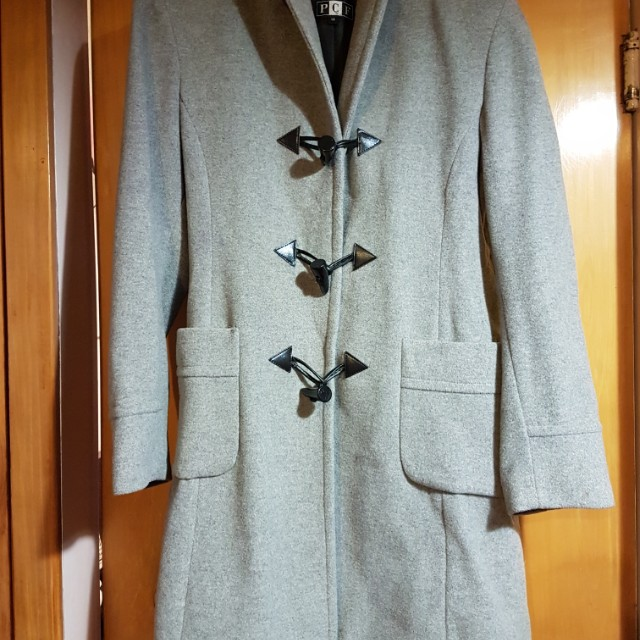 Wool Hooded Toggle Coat Size 14 Grey