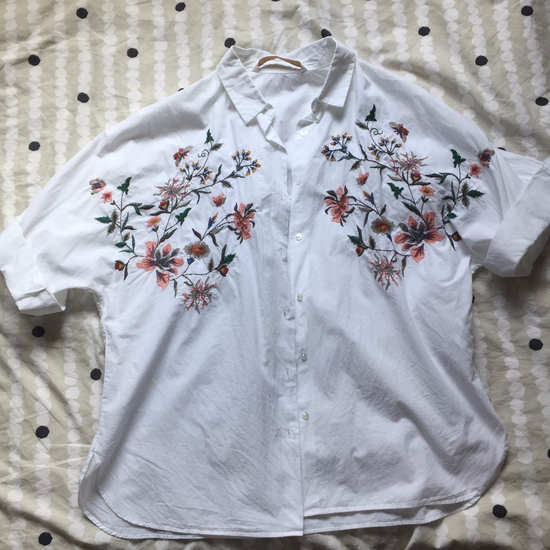 ZARA Floral embroidery shirt
