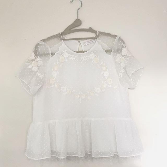 Zara Short Sleeved Embroidered Blouse