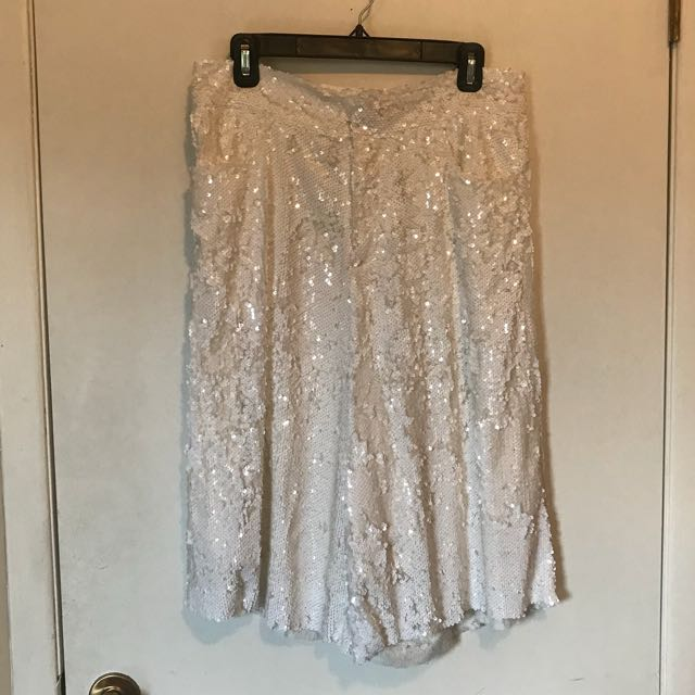 Zara white sequin coulottes size M