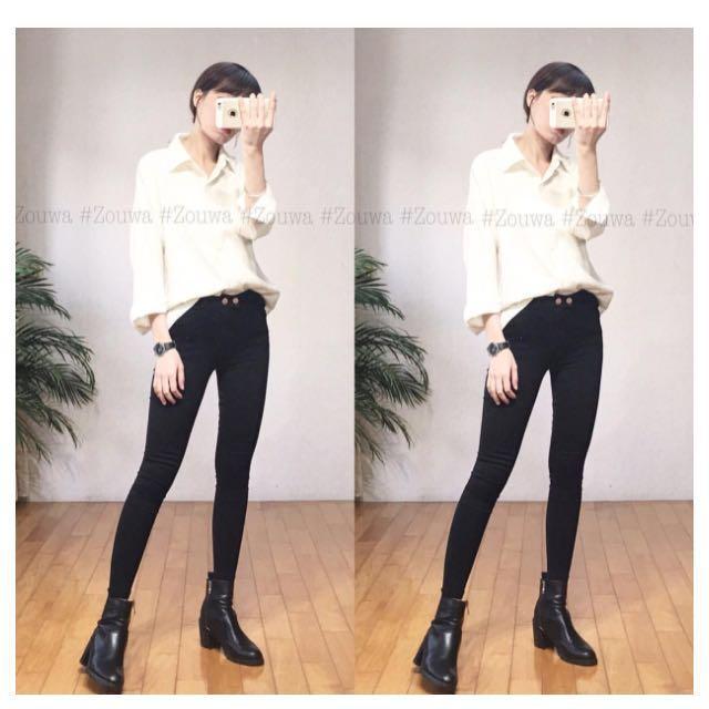 轉賣Zou Wa👉🏼雙釦高腰超彈黑褲👈🏼