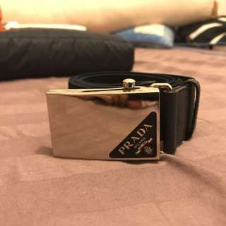 Prada Mens Belt with Silver Buckle
