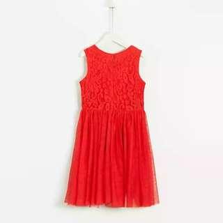 歐洲牌子 紅色lace紗紡裙