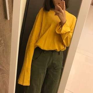 💛超好看寬鬆黃色上衣 大寬袖
