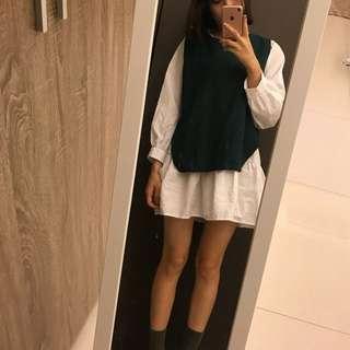 💗超推 正韓綠背心+白襯衫洋裝 可分開穿💚💚