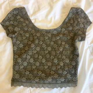 Green Floral Lace Crop Top