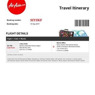 Plane Ticket fr. Cebu to Manila for Nov 6, 2017