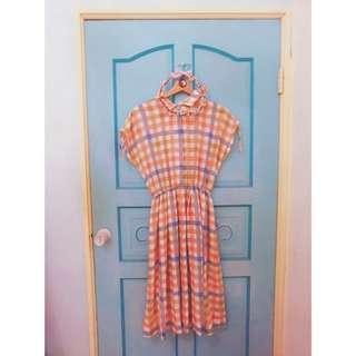 古著初心粉嫩格紋縮腰襯衫洋裝