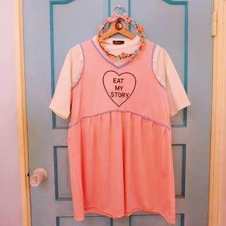原宿系粉嫩娃娃短洋裝