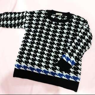 N.y.L.a Checkered Colour Blocked Houndstooth Sweater