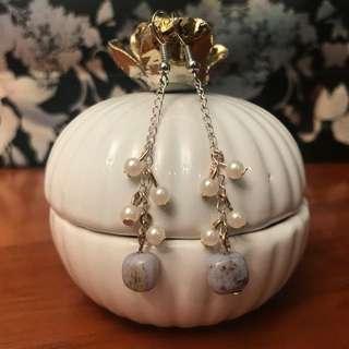 Bluestone pearl drop earrings, classy elegant earrings, can be customized to clip on style.
