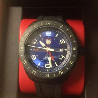 Luminox – Men's SXC Space GMT Black Silicone Blue Dial