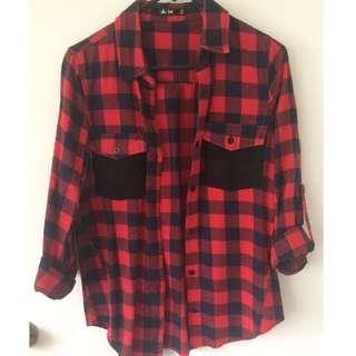 Red & Navy Check Shirt