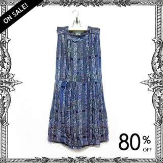 【近新古著】藍色民族風無袖宮廷古典洋裝裙