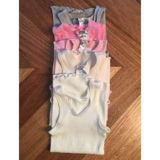 Baby girls Bonds singlets / vests, 5x pink gradient, size 1 (12 - 18 months)