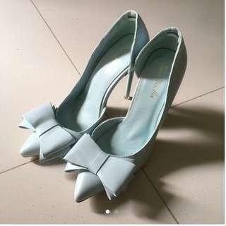 Pastel Blue Ribbon Heels