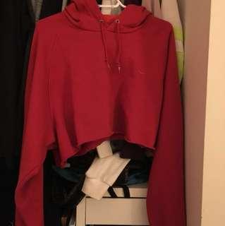 Nike cropped red hoodie