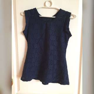 Navy blue peplum eyelet blouse
