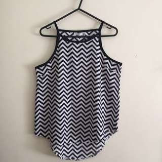 Chevron High Neck Top
