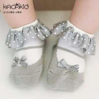 🌟INSTOCK🌟 Polkadot Bow Ribbon Lace Non Anti-slip Baby Girl & Children Kids Socks